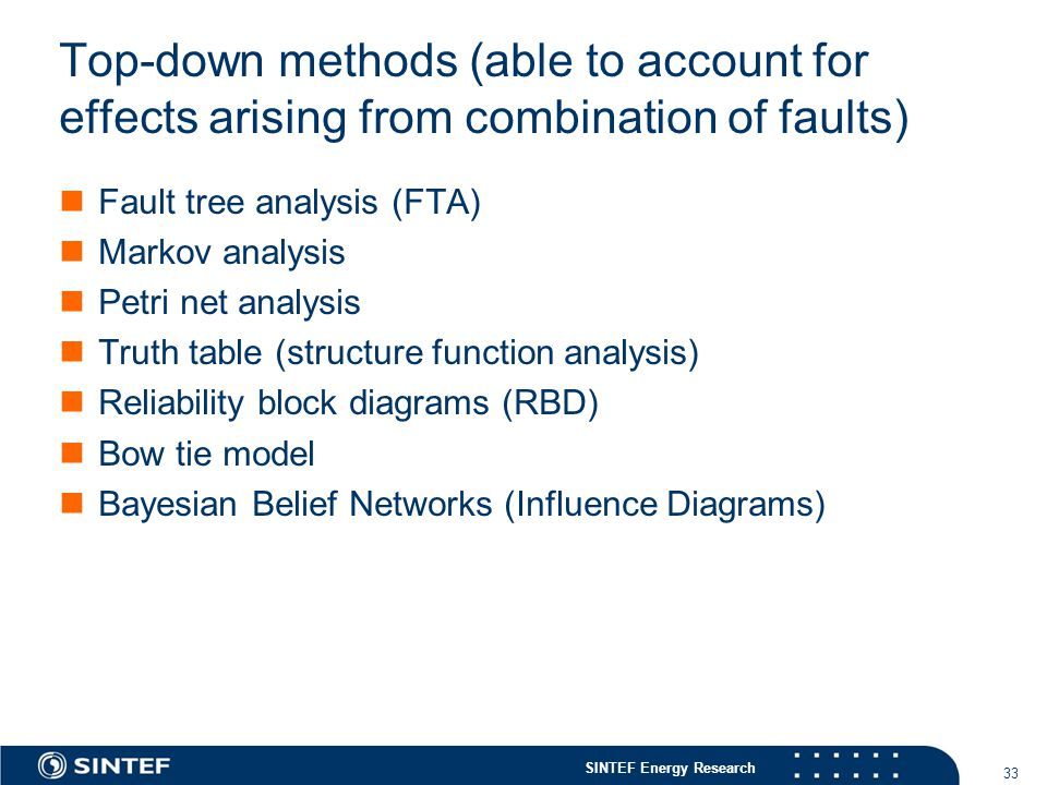Top-down methods (able to account for effects arising from combination of faults)