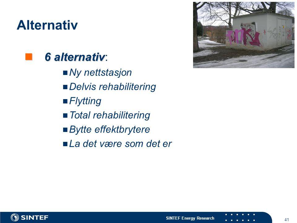 Alternativ 6 alternativ: Ny nettstasjon Delvis rehabilitering Flytting