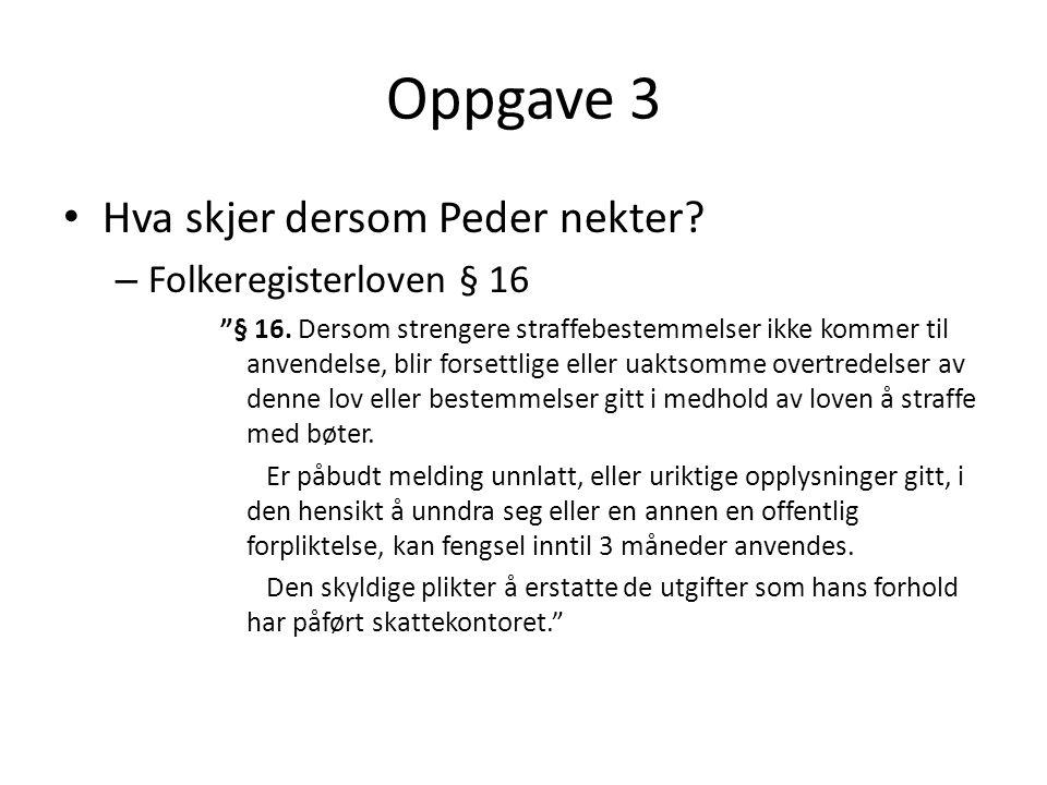 Oppgave 3 Hva skjer dersom Peder nekter Folkeregisterloven § 16