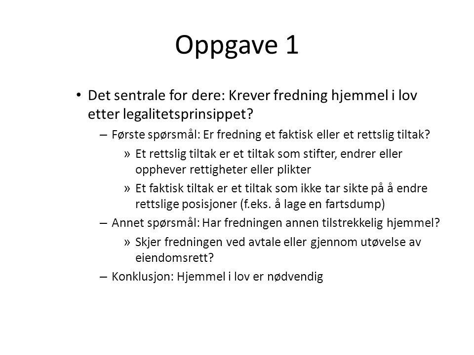 Oppgave 1 Det sentrale for dere: Krever fredning hjemmel i lov etter legalitetsprinsippet