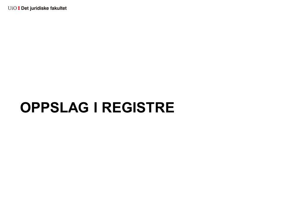 Oppslag i registre