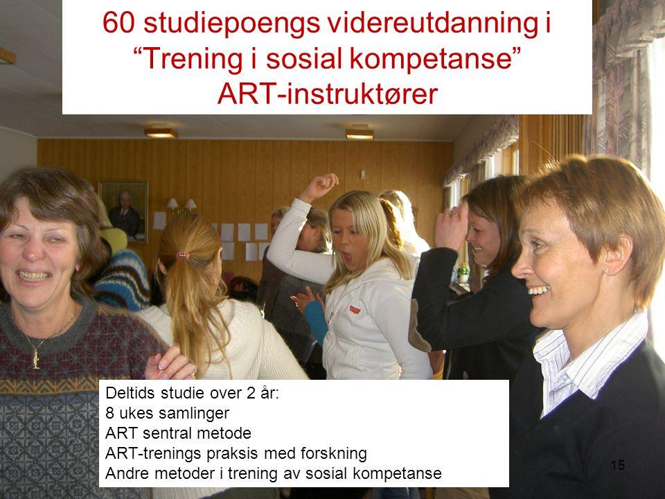 60 studiepoengs videreutdanning i Trening i sosial kompetanse ART-instruktører