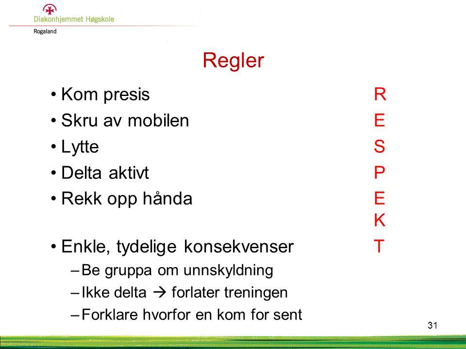 Regler Kom presis R Skru av mobilen E Lytte S Delta aktivt P