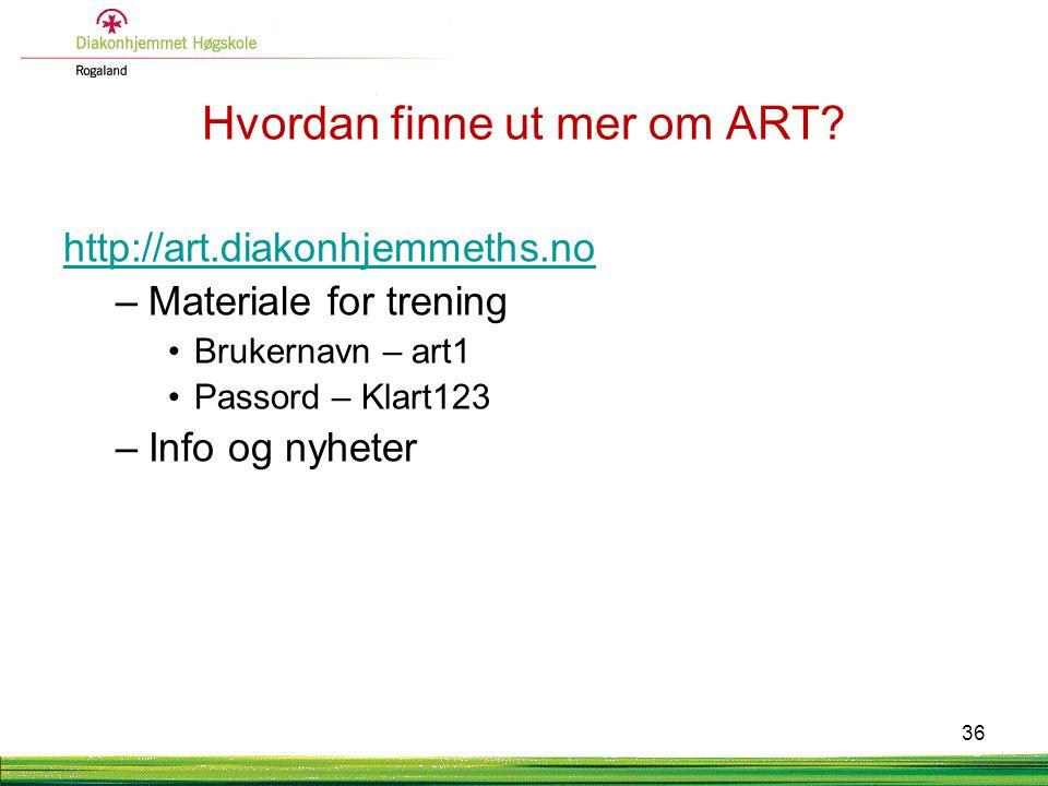 Hvordan finne ut mer om ART