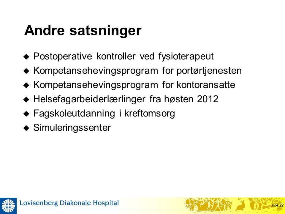 Andre satsninger Postoperative kontroller ved fysioterapeut