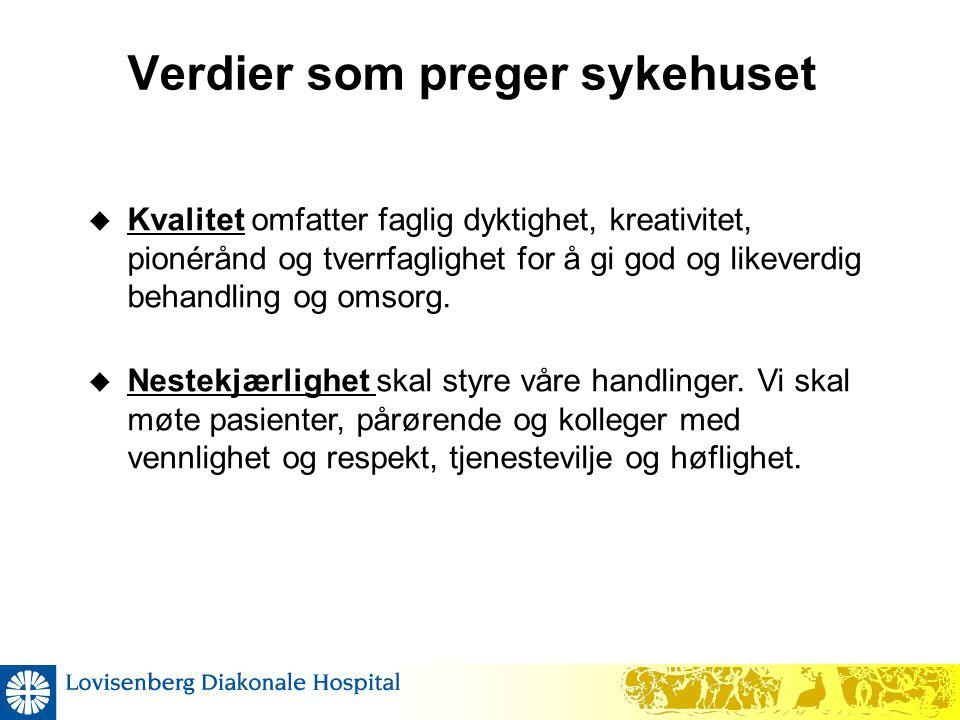 Verdier som preger sykehuset