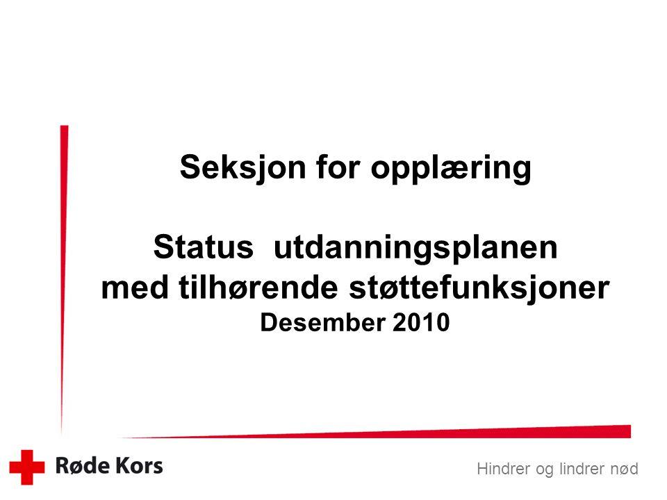 Seksjon for opplæring Status utdanningsplanen med tilhørende støttefunksjoner Desember 2010