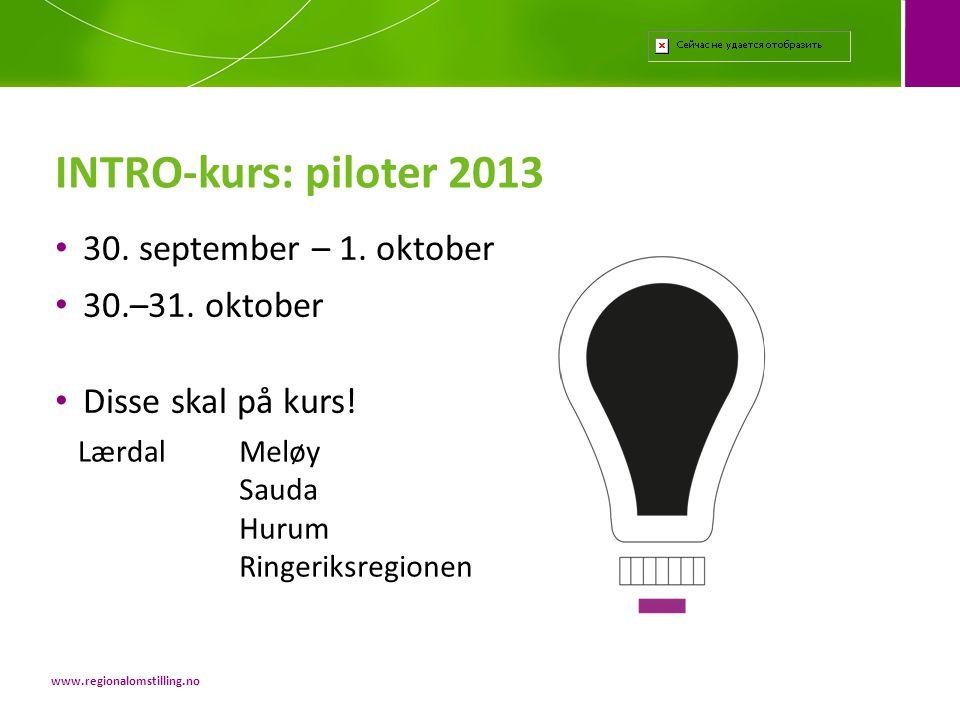 INTRO-kurs: piloter 2013 30. september – 1. oktober 30.–31. oktober