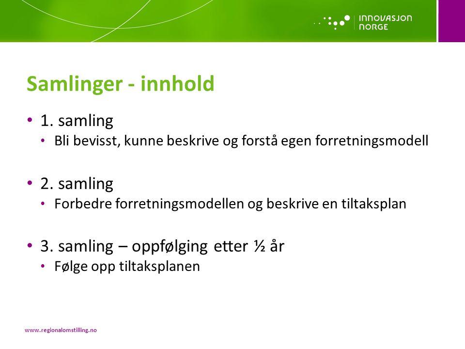 Samlinger - innhold 1. samling 2. samling