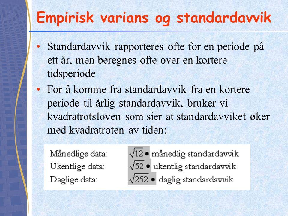 Empirisk varians og standardavvik