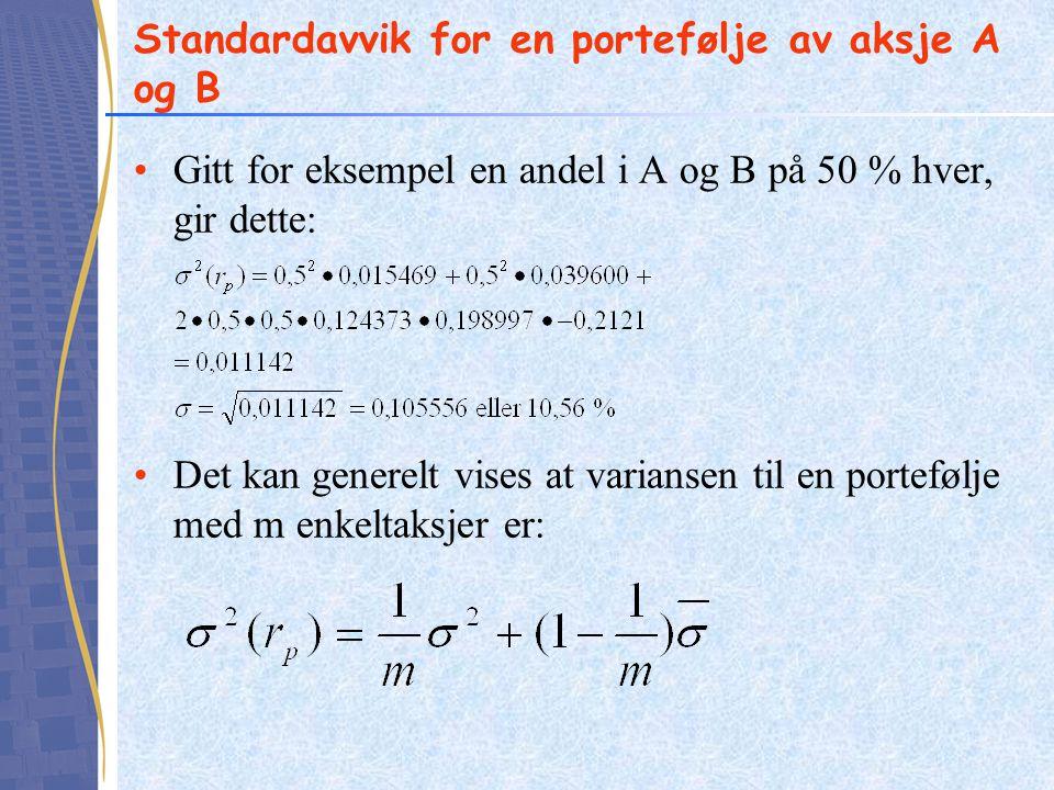 Standardavvik for en portefølje av aksje A og B
