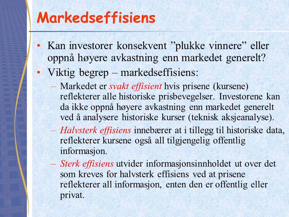 Markedseffisiens Kan investorer konsekvent plukke vinnere eller oppnå høyere avkastning enn markedet generelt