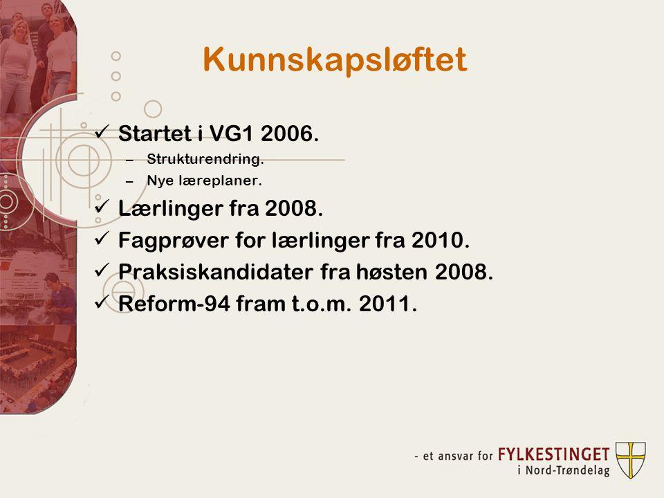 Kunnskapsløftet Startet i VG1 2006. Lærlinger fra 2008.