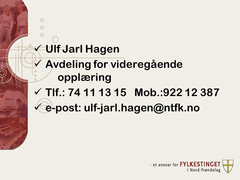 Ulf Jarl Hagen Avdeling for videregående opplæring.