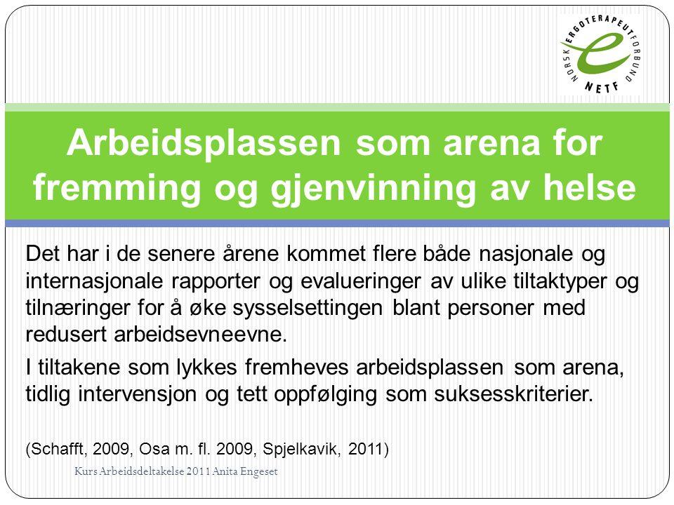 Arbeidsplassen som arena for fremming og gjenvinning av helse