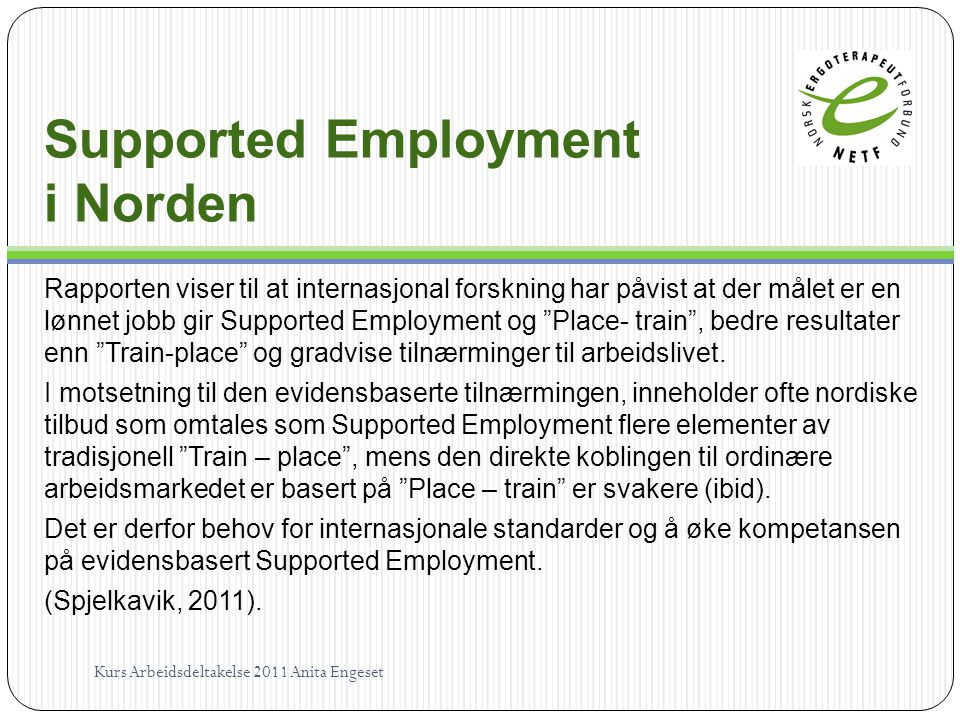 Supported Employment i Norden