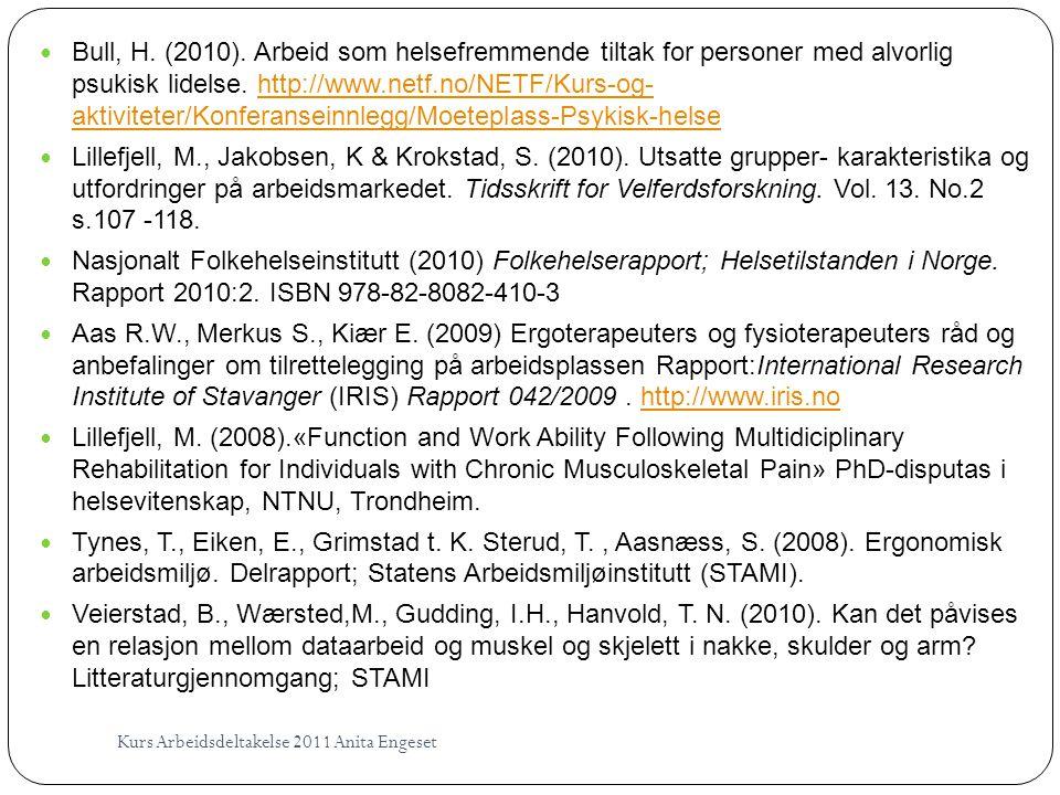 Bull, H. (2010). Arbeid som helsefremmende tiltak for personer med alvorlig psukisk lidelse. http://www.netf.no/NETF/Kurs-og- aktiviteter/Konferanseinnlegg/Moeteplass-Psykisk-helse
