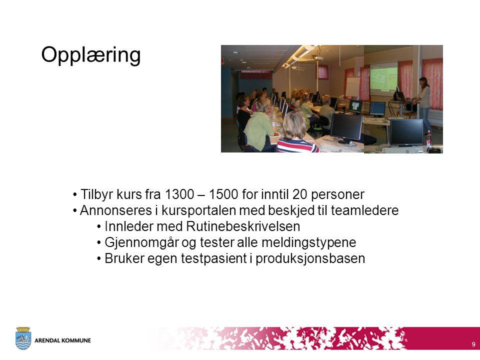 Opplæring Tilbyr kurs fra 1300 – 1500 for inntil 20 personer