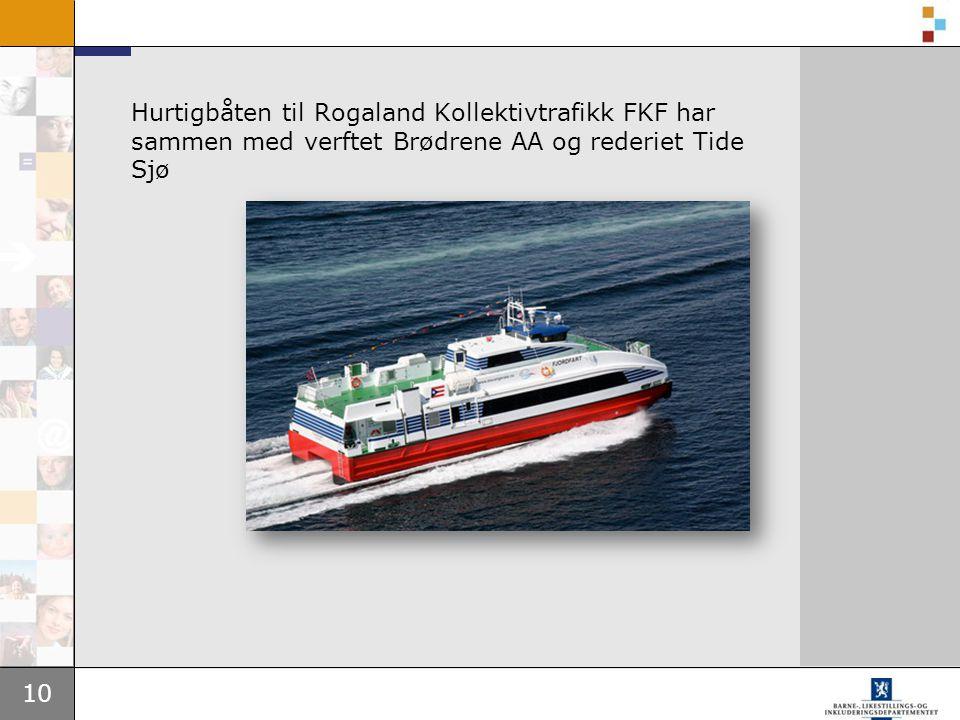 Hurtigbåten til Rogaland Kollektivtrafikk FKF har sammen med verftet Brødrene AA og rederiet Tide Sjø