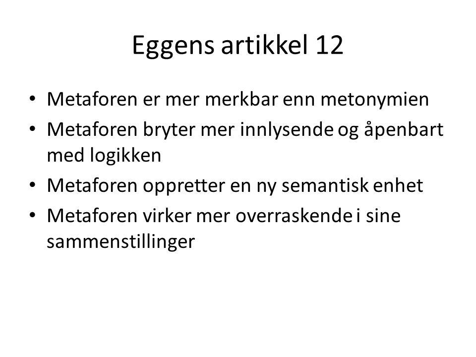 Eggens artikkel 12 Metaforen er mer merkbar enn metonymien