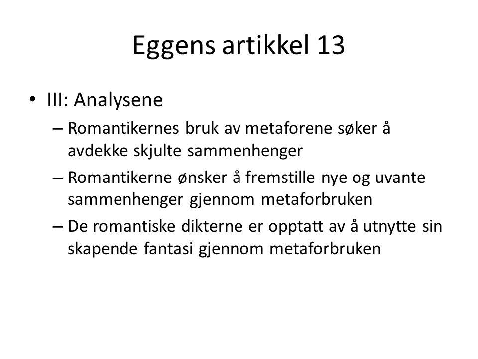 Eggens artikkel 13 III: Analysene