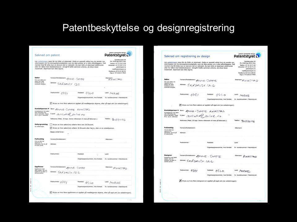 Patentbeskyttelse og designregistrering
