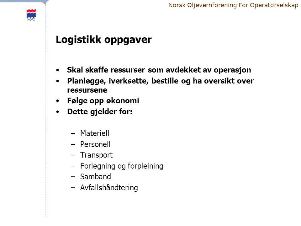 Logistikk oppgaver Skal skaffe ressurser som avdekket av operasjon