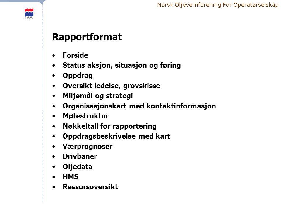 Rapportformat Forside Status aksjon, situasjon og føring Oppdrag
