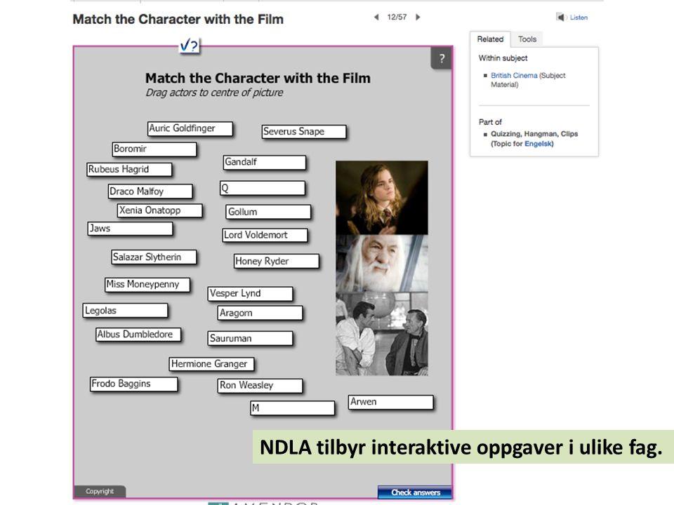 NDLA tilbyr interaktive oppgaver i ulike fag.