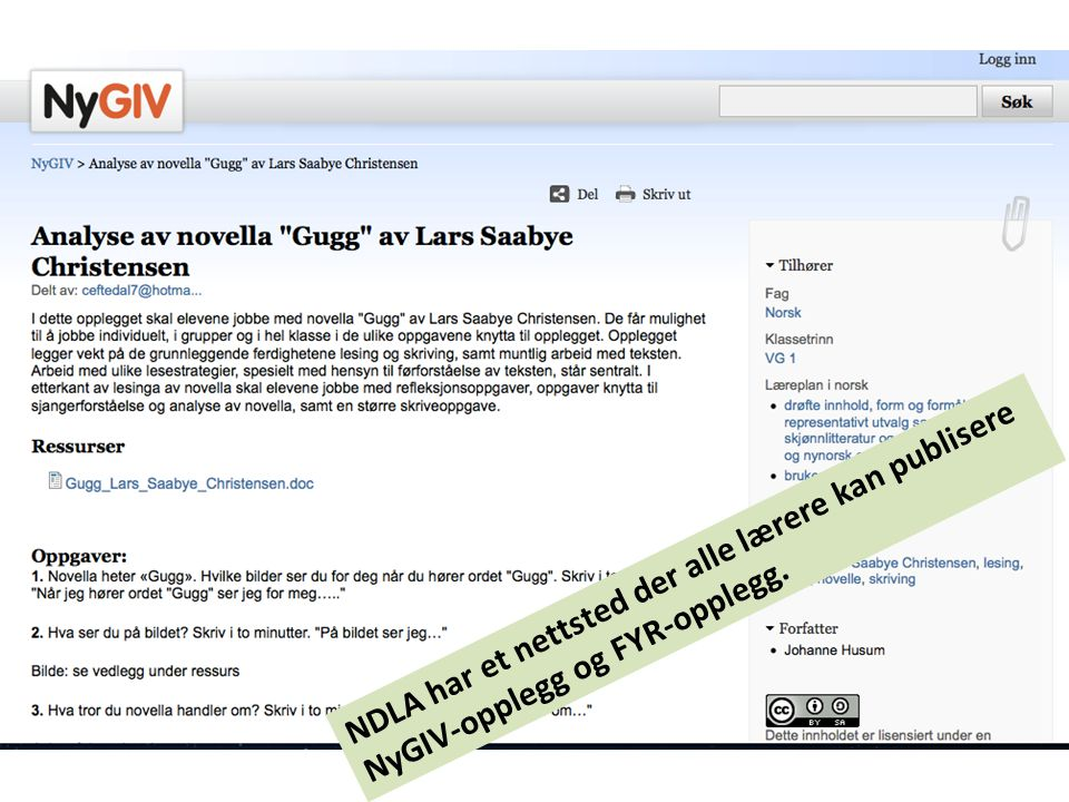NDLA har et nettsted der alle lærere kan publisere