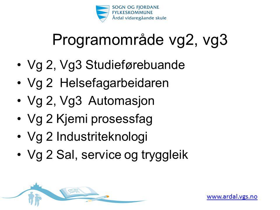 Programområde vg2, vg3 Vg 2, Vg3 Studieførebuande