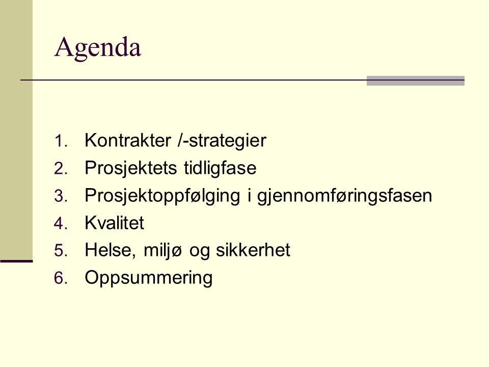 Agenda Kontrakter /-strategier Prosjektets tidligfase