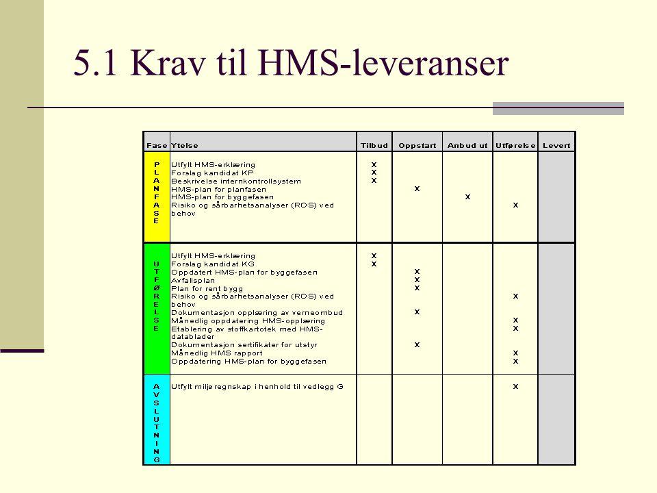 5.1 Krav til HMS-leveranser