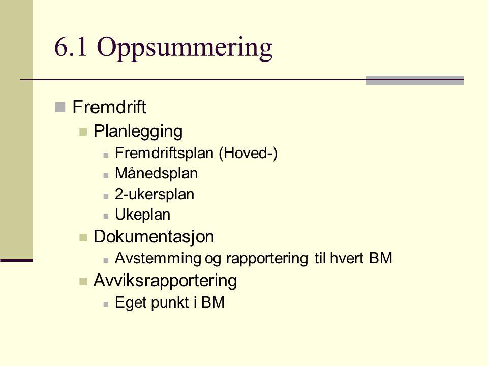 6.1 Oppsummering Fremdrift Planlegging Dokumentasjon