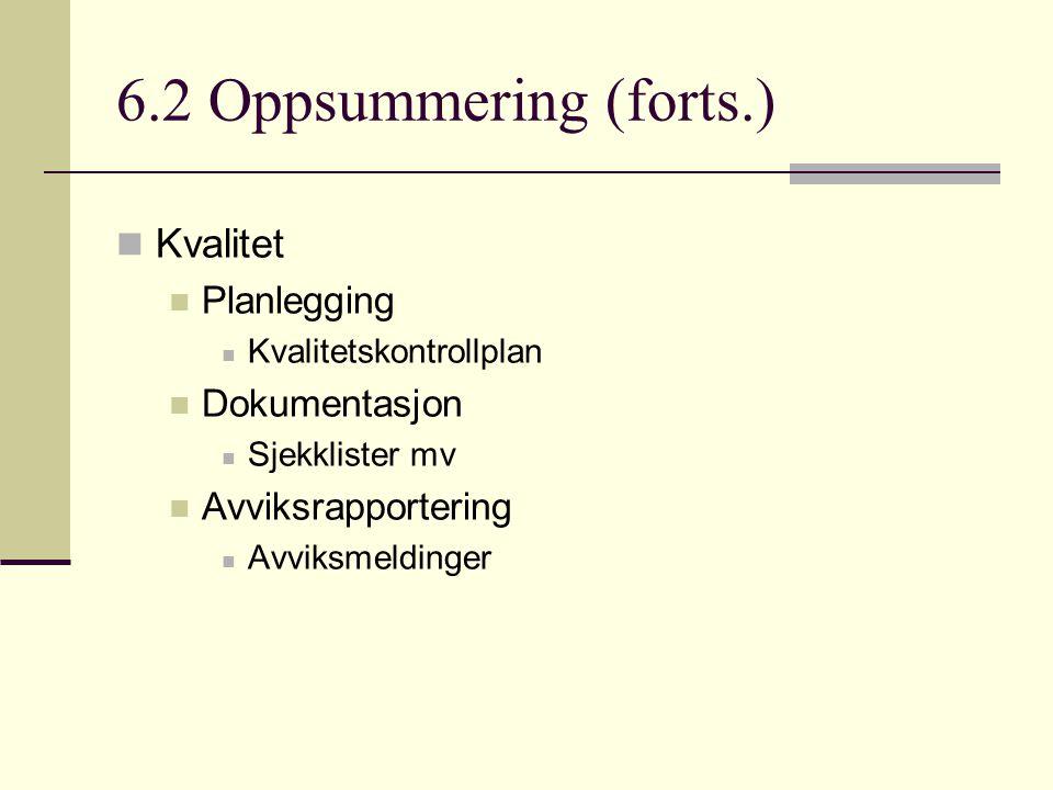 6.2 Oppsummering (forts.) Kvalitet Planlegging Dokumentasjon