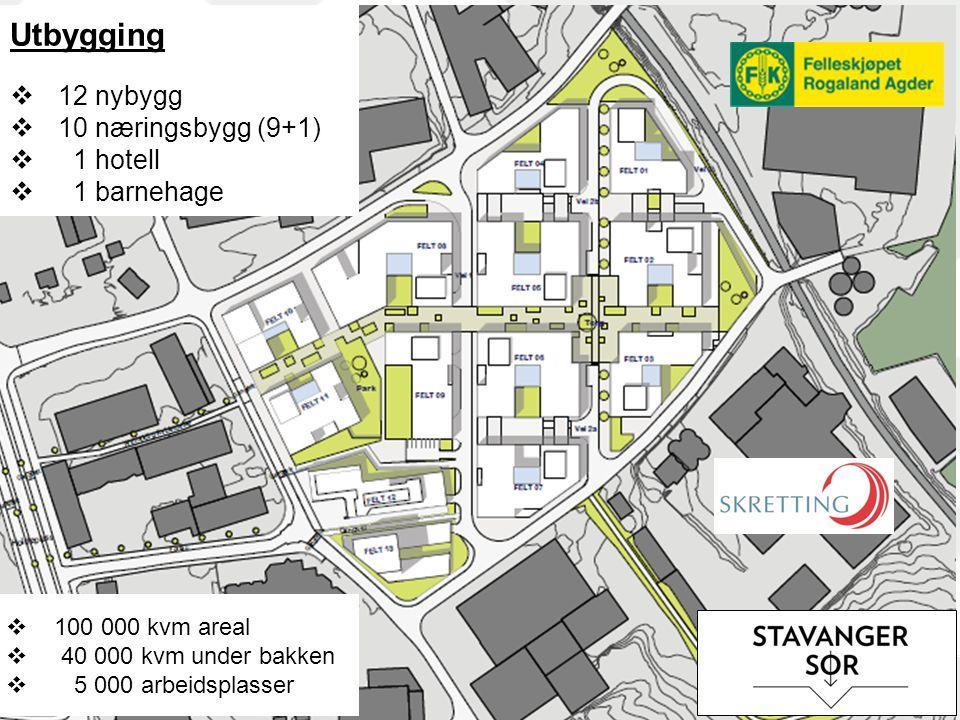 Utbygging 12 nybygg 10 næringsbygg (9+1) 1 hotell 1 barnehage
