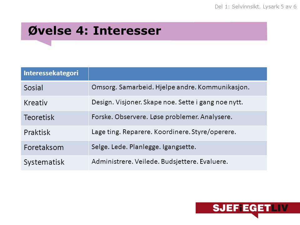 Øvelse 4: Interesser Sosial Kreativ Teoretisk Praktisk Foretaksom