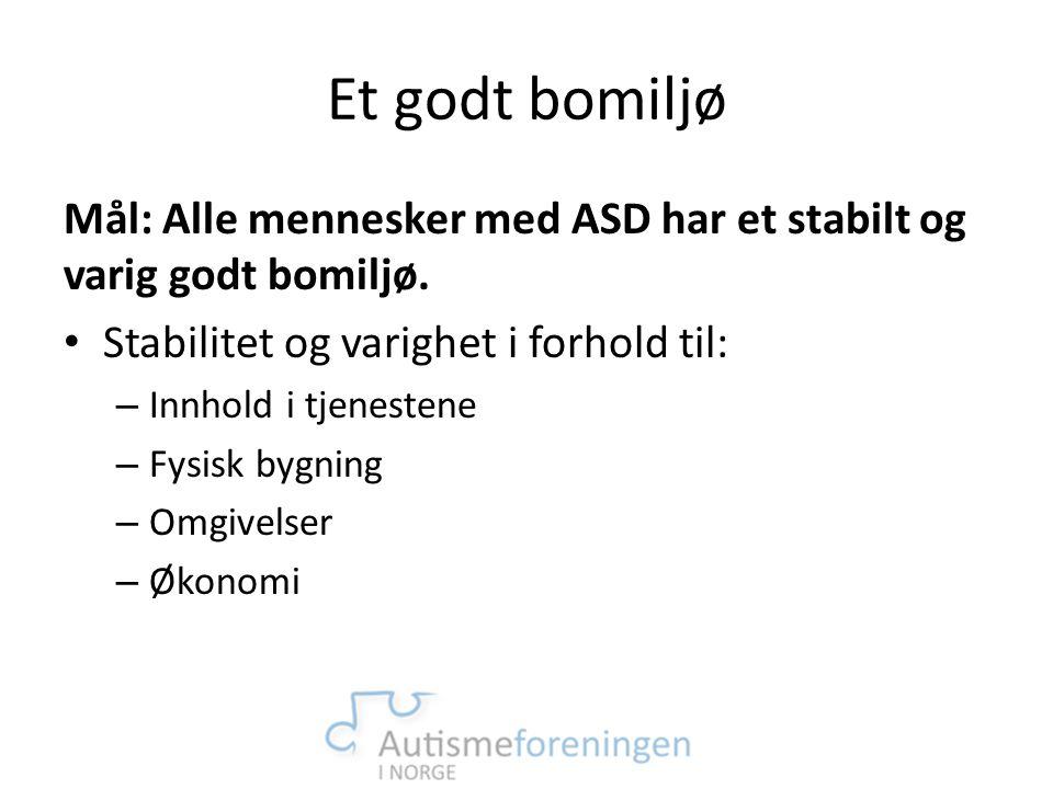 Et godt bomiljø Mål: Alle mennesker med ASD har et stabilt og varig godt bomiljø. Stabilitet og varighet i forhold til: