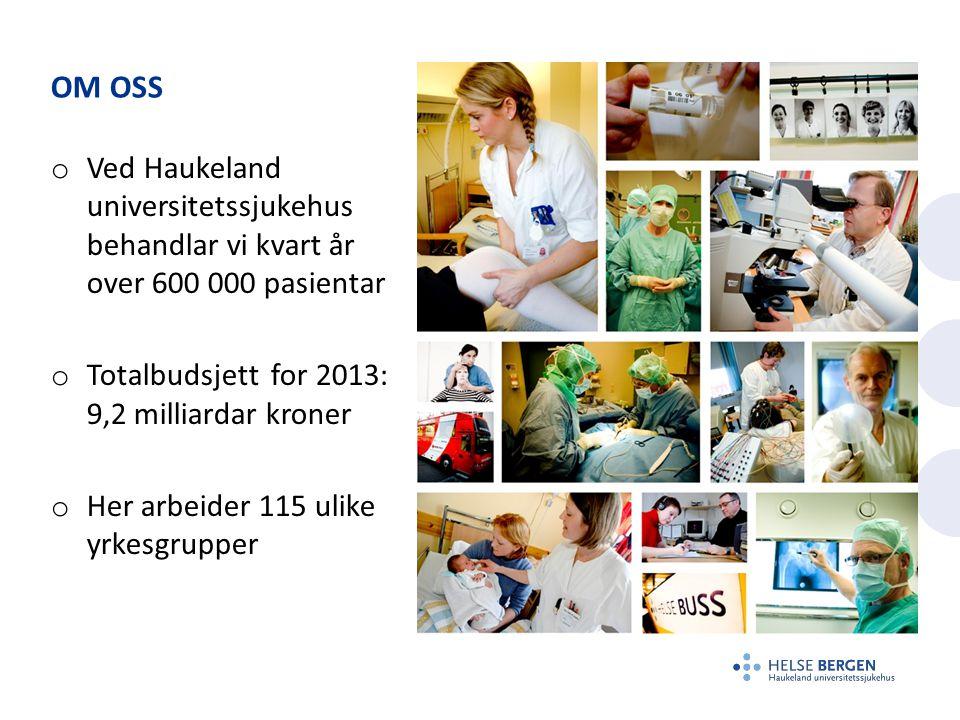 Om oss Ved Haukeland universitetssjukehus behandlar vi kvart år over 600 000 pasientar. Totalbudsjett for 2013: 9,2 milliardar kroner.