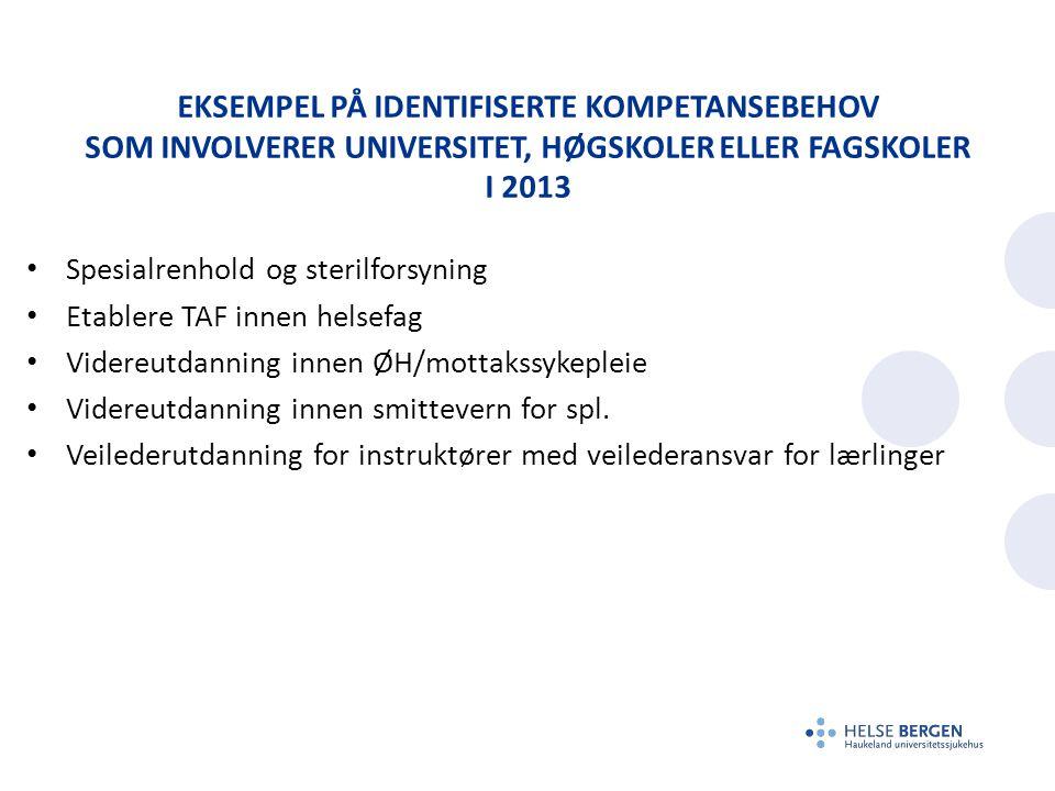 Eksempel på Identifiserte Kompetansebehov som involverer Universitet, høgskoler eller fagskoler i 2013