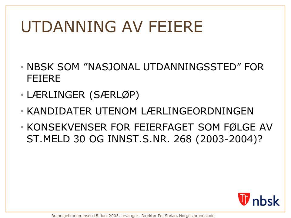 UTDANNING AV FEIERE NBSK SOM NASJONAL UTDANNINGSSTED FOR FEIERE