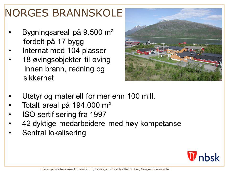 NORGES BRANNSKOLE Bygningsareal på 9.500 m² fordelt på 17 bygg