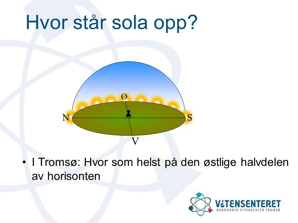 Hvor står sola opp Ø. V. N. S. I Tromsø: Hvor som helst på den østlige halvdelen av horisonten.