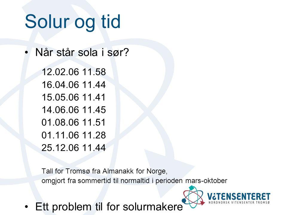 Solur og tid Når står sola i sør Ett problem til for solurmakere