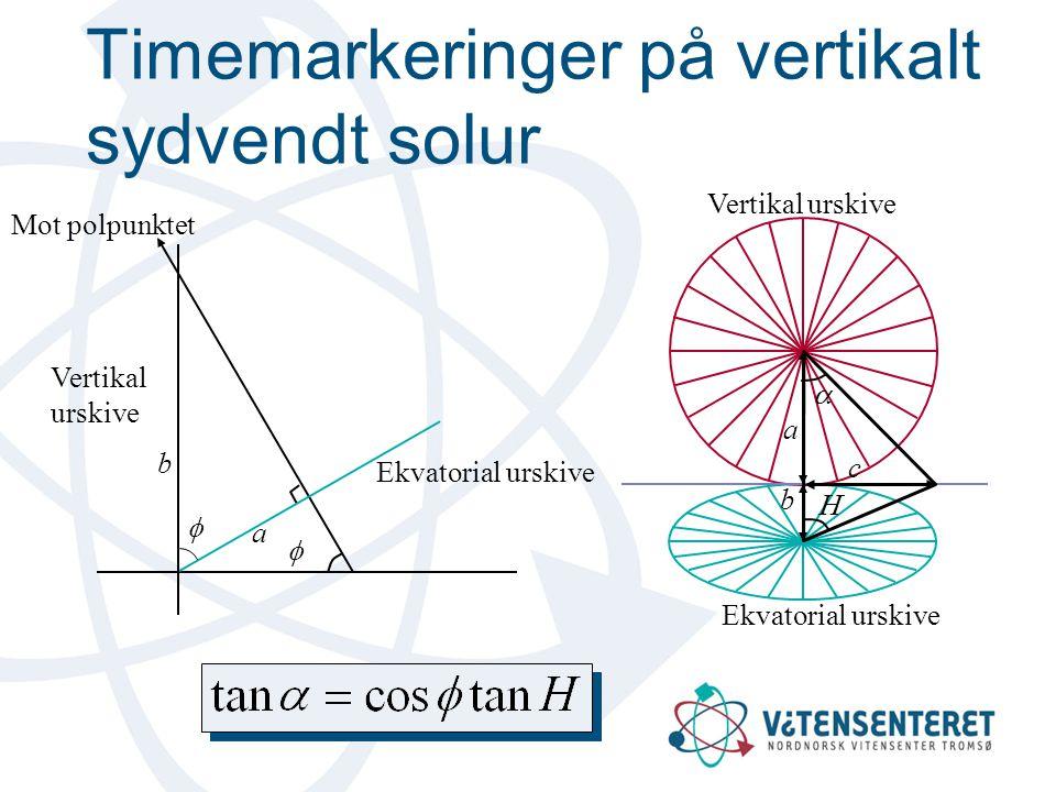 Timemarkeringer på vertikalt sydvendt solur