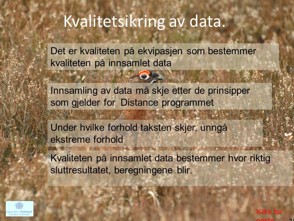 Kvalitetsikring av data.