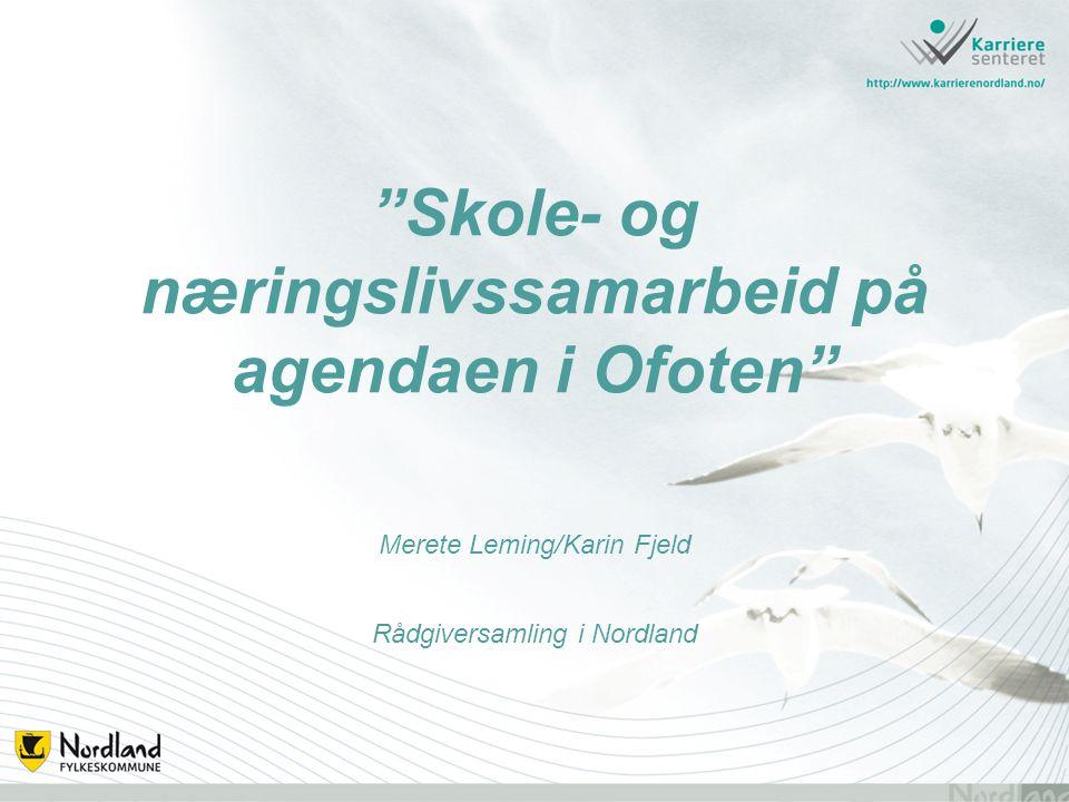 Skole- og næringslivssamarbeid på agendaen i Ofoten Merete Leming/Karin Fjeld Rådgiversamling i Nordland