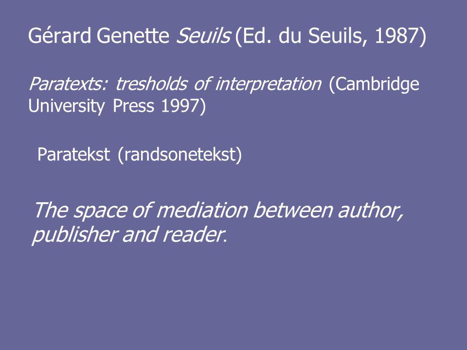 Gérard Genette Seuils (Ed