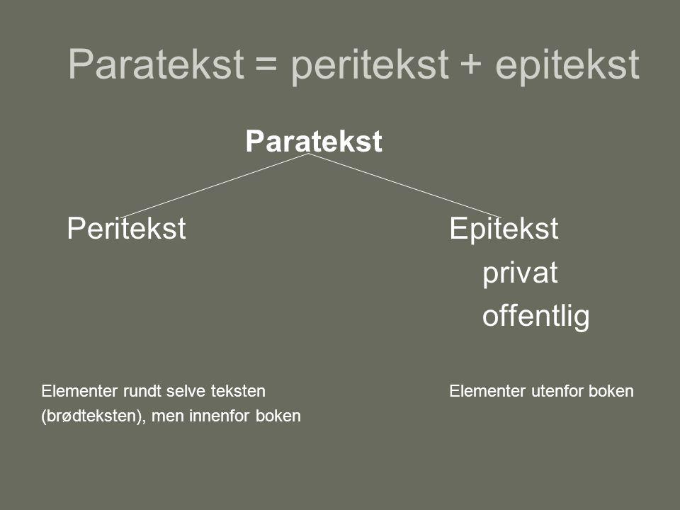 Paratekst = peritekst + epitekst