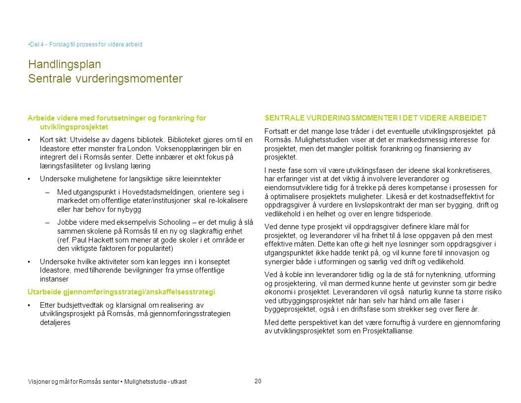 Handlingsplan Sentrale vurderingsmomenter